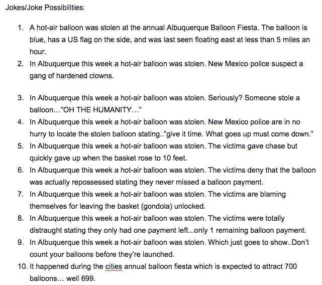 Balloon Stolen Jokes